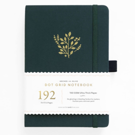 Archer & Olive bulletjournal/Notitieboek A5 - 192 pagina's - Dotted - Deep Green