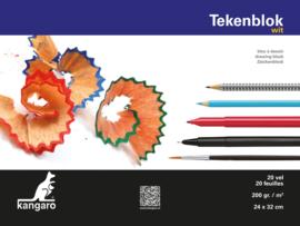 Kangaro Tekenblok Kangaro 24 x 32 cm - 20 vellen - 200 grams wit papier