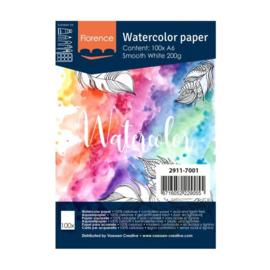 Florence Aquarelpapier smooth Intense White - 100 vellen 200 grams papier - A6