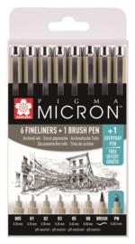 Sakura Pigma Micron 6 Fineliners Zwart  + 1 Brush pen + Gratis PN pen