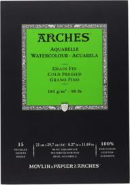 Arches Aquarelpapier - cold pressed - 185 grams - 15 vellen - A4