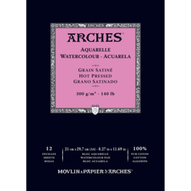 Arches Aquarelpapier - Hot pressed - 185 grams - 15 vellen - A4