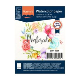 Florence Aquarelpapier texture off white - 100 vellen 300 grams papier -A6