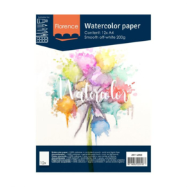 Florence Aquarelpapier smooth off white - 12 vellen 200 grams papier - A4
