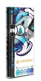 Chameleon Alcohol based Pens - Blue Color Tones - set van 5