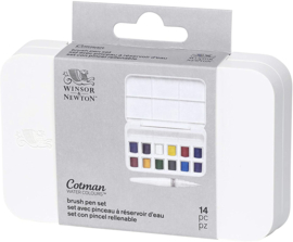 Winsor & Newton Cotman - Aquarelverf set -12 kleuren + water brush