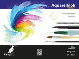 Kangaro Aquarelpapier Roomwit - 16 vellen 300 grams papier - 32 x 24 cm