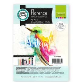 Florence Aquarelpapier smooth Intense White - 15 vellen 300 grams papier - A5