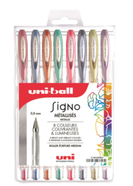 Uni-ball Signo Gelpennen metallic UM-120 -  0,8 mm - set van 8
