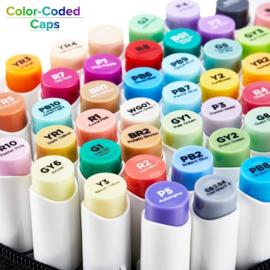Ohuhu Alcohol based Art markers Brush & Fine - set van 72 + Blender + etui