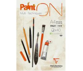 Clairefontaine Paint-ON Multi-Technique mixed media A4 - 40 vellen - 250 grams - wit papier
