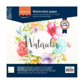 Florence Aquarelpapier texture off white 30,5 x 30,5 cm - 5 vellen 300 grams papier