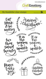 CraftEmotions clearstamps A6 - handletter -  Christmas 2 - Carla Kamphuis  - set van 11