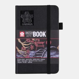 Sakura Brush / Schetsboek 9 x 14 cm  - 80 vellen - Zwart papier