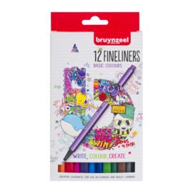 Bruynzeel Fineliners Basic Colours - set van 12