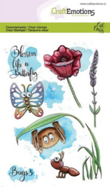 CraftEmotions clearstamps A6 - Bugs 3 - Carla Creaties  - set van 8