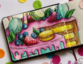 WORKSHOP PAKKET: Dripcake- Aquarel KreaDoe Online 2021 - by Nanja Illustraties