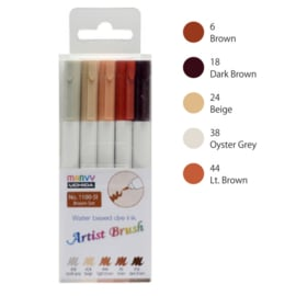 Marvy Uchida Artist Brush Pen - set van 5 - Brown
