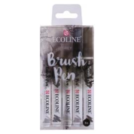 Talens Ecoline Brush Pen - set van 5 - grijs