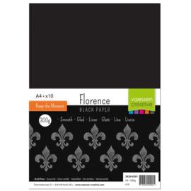 Florence Black Paper Smooth A4 - 10 vellen - 300 grams - zwart papier