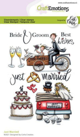 CraftEmotions clearstamps A6 - Just Married - Carla Creaties