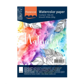 Florence Aquarelpapier smooth Intense White - 100 vellen 200 grams papier - A5