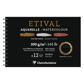 Clairefontaine Etival Aquarelpapier ringband - 12 x 18 cm - 12 vellen - 300 grams  - Cold-Pressed - Zwart papier