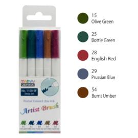 Marvy Uchida Artist Brush Pen - set van 5 - Deep