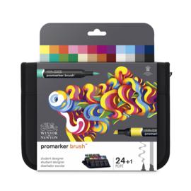 Winsor & Newton promarkers Brush - Student Designer - set van 24 in etui