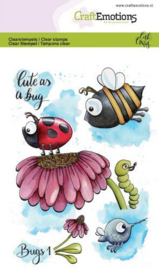 CraftEmotions clearstamps A6 - Bugs 1 - Carla Creaties  - set van 7