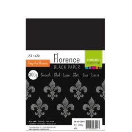 Florence Black Paper Smooth A5 - 20 vellen - 300 grams - zwart papier
