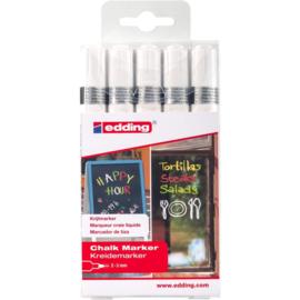 Edding 4095 Raam/krijtstift - rond 2-3 mm - set van 5  wit
