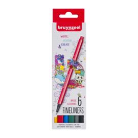 Bruynzeel Fineliners Basic Colours - set van 6