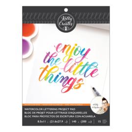 Kelly Creates Watercolor brush lettering paper pad blank 300 grams - 15 vellen