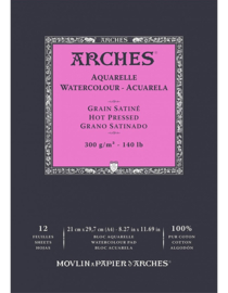 Arches Aquarelpapier - Hot pressed - 300 grams - 12 vellen - A4