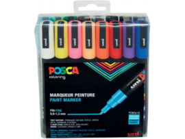 Uni Posca Paintmarker PC-3M-16A ass21 - set van 16 (0.9 - 1.3 mm)