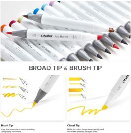 Ohuhu Alcohol based Art markers Brush & chisel - set van 72 + Blender + etui