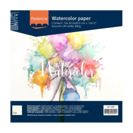Florence Aquarelpapier smooth off white 30,5 x 30,5 cm - 10 vellen 200 grams papier