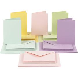 CARD MAKING dubbele blanco Kaarten 10,5 x 15 cm & enveloppen - Pastel papier - set van 50