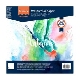 Florence Aquarelpapier texture Intense White - 5 vellen 300 grams papier - 30,5 x 30,5 cm