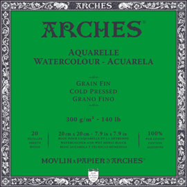 Arches Aquarelpapier 20 x 20 cm - cold pressed - 300 grams - 20 vellen