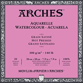 Arches Aquarelpapier - hot pressed - 300 grams - 20 vellen - 20 x 20 cm