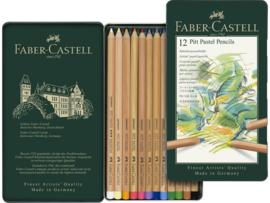 Pastelpotlood Faber Castell pastel metalen blik - set van 12