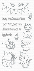 My Favorite Things clear stamps - set van 14 - SY Sending Sweet Celebration Wishes