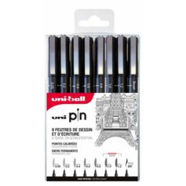 Uni-ball PIN Fineliners set 6+2 GRATIS - Zwart ASP011
