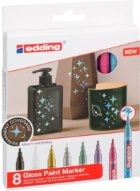 Edding Glanslak-markers 751 - Metallic kleurige - set van 8