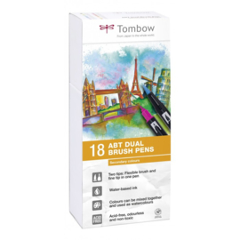 Tombow ABT Dual Brush Pen - set van 18 Secondary colours