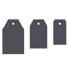 Vaessen Creative - Etiketten label pons 3 in 1 - 3,8 cm, 5,1 cm en 6,4 cm - rechte hoeken