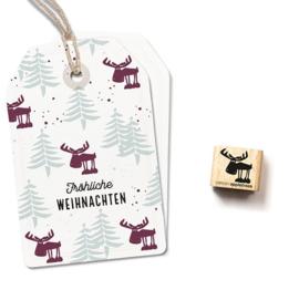 Cats on Appletrees - Houten stempel - 15x15mm - Heinrich the Elk