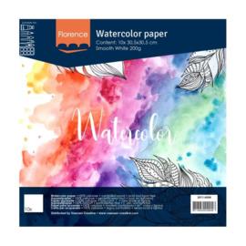 Florence Aquarelpapier smooth Intense White - 10 vellen 200 grams papier - 30,5 x 30,5 cm